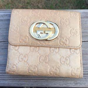 Gucci Tan leather women's wallet bifold gold logo